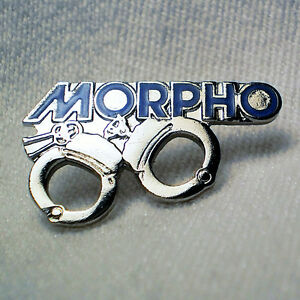 MORPHO WITH HANDCUFFS LAPEL PIN (RARE)