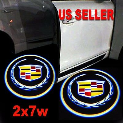 2x7w Ghost Shadow Projector Laser Logo LED Door Step Light Courtesy for Cadillac