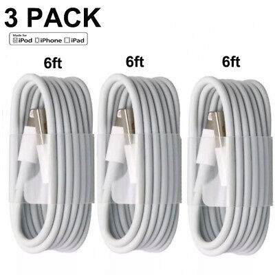 3-PACK 6FT USB Data Charger Cables Cords For Apple iPhone 5 S 6 7 8 X Plus