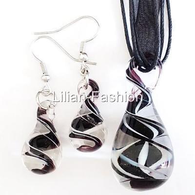 Black White Drop Swirl Lampwork Glass Murano Bead Pendant Necklace Earrings Set