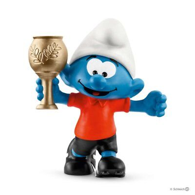 Schleich Smurf Football Soccer with Trophy Figure Cake Topper Toy NEW 20807 (Toy Trophies)