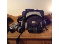 Canon EOS 300 with 2 lenses and a bag