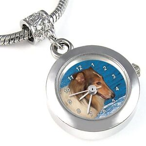 Collie-Dog-Silver-Quartz-Watch-European-Spacer-Charm-Bead-For-Bracelet-EBA163