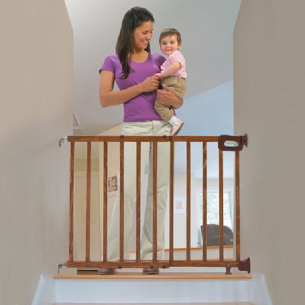 wooden baby gate swing door safety fence