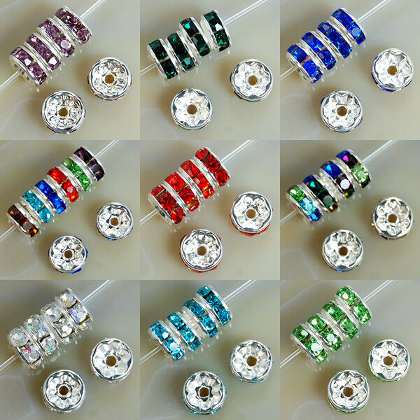 6mm Czech Crystal Rhinestone Silver Rondelle Spacer Beads Pick