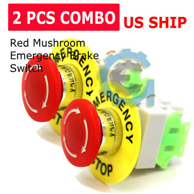 2 Pcs X Red Mushroom Emergency Stop Push Button Switch No Nc 22mm Cnc Gecko