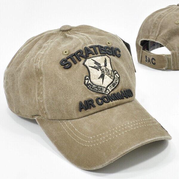 U.S. AIR FORCE STRATEGIC AIR COMMAND BROWN/KHAKI CAP HAT LOW PROFILE COTTON NEW