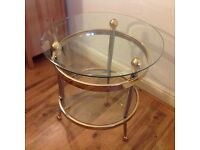 TABLE - ROUND CLEAR GLASS & BRASS SIDE TABLE MINT CONDITION.