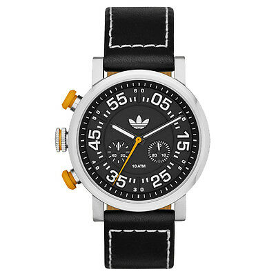 NIB Adidas Originals ADH 9074 Indianapolis Chronograph Leather Watch - Black