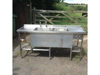 Double deep bowl catering sink