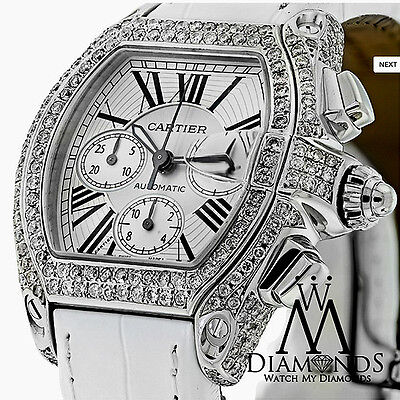 - Diamond Cartier Roadster XL Watch W62019X6 White Dial on White Alligator Strap