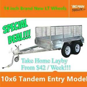 10x6 Tandem Galvanised Trailer 600mm Cage Sliper Spring 2000KG Entry Carrum Downs Frankston Area Preview