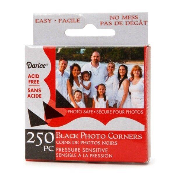 Darice 250-pc BLACK Photo Corners Adhesive ACID FREE Archival Quality