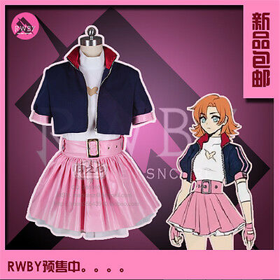Anime Uniforms RWBY IV Nora Valkyrie Dress Cosplay Costume Pink Skirt Full Sets