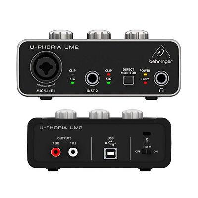 Behringer UM2 U-Phoria 2x2 USB audio interface for Mic and instruments 48V XENYX