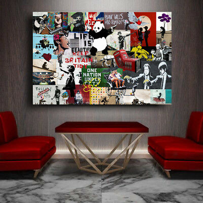 Banksy Graffiti Street Art Collage Unique Print 36 x 24 Print - Urban Art Show