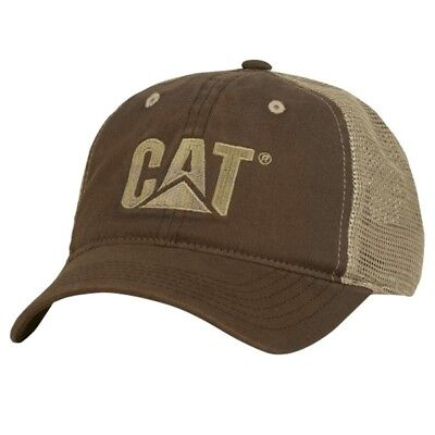 Caterpillar CAT Equipment Trucker Brown Twill Mesh Cap Hat