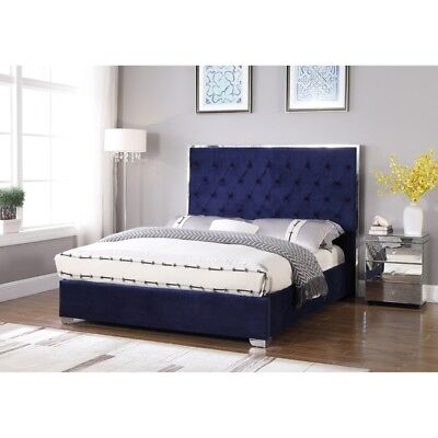 Color Finished Bedroom Set - Chrome Finish Legs 1piece Bedroom Set Queen Size Bed Velour Fabric Navy Color
