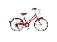 "probike vintage upright bicycle ladies girls red cheap 14"" 24 "" wheel free basket"