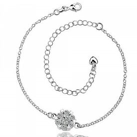Classic Round Rhinestone Hollow Out Solid Color Anklet For Women