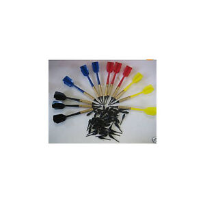 12 New Darts Brass Soft Tip Bar Dart GLD with 50 Extra tips flights shafts cases