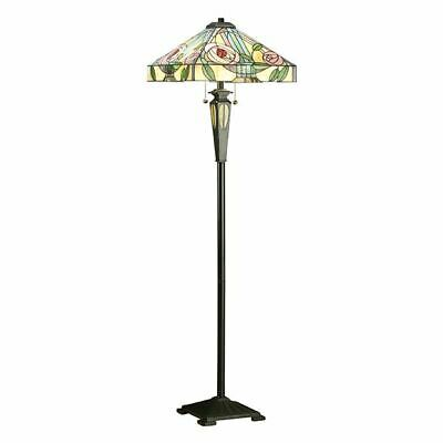 Willow Tiffany Style Floor Lamp With Stained Glass & Floral Design 60W