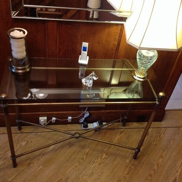 Marks and Spencer glass and antique gold console table ...