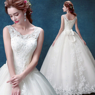Ball Gown Scoop Neck - Ball Gown Wedding Dresses Scoop Neck Sleeveless With Appliques Lace Bride Gowns