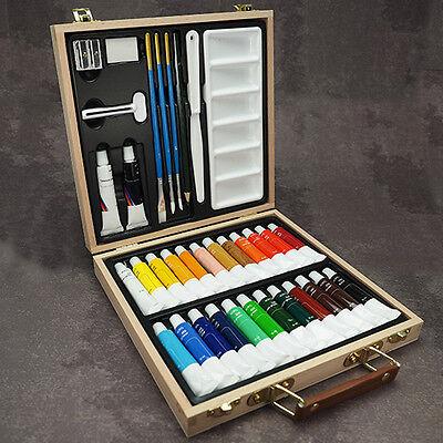 Künstler Malkoffer 35 Teile - Acrylfarben Set Malset im Koffer Acrylfarbe Malen