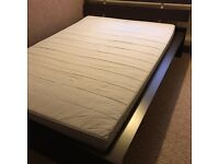 Dark wood bed frame with mattress (double)