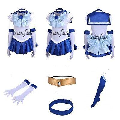 New Sailor Moon SM Ami Mizuno Sailor Mercury Dress Cosplay Costume & petticoat