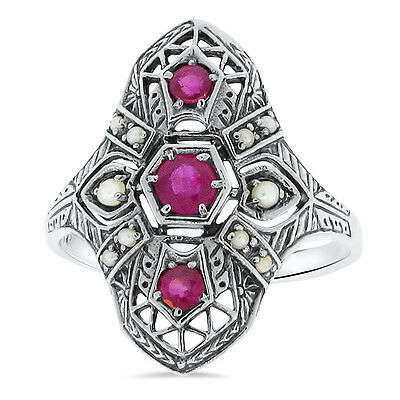 - GENUINE RUBY AND PEARL ANTIQUE DECO DESIGN .925 STERLING SILVER RING Sz 9, #23