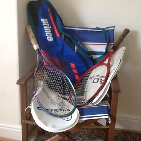 2 Head Tennis racquets with covers, plus carrying case.
