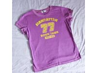 Ladies American skater style purple T-shirt NEW