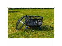 Stylish Black Powder Coated Steel Fire Pit with Floral Detail (Brand New & Boxed)