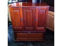 Lovely open door TV cabinet. Would look great up cycled.