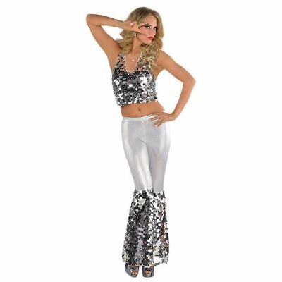 Ladies Disco Diva Fancy Dress Costume 70's Groovy Retro Womens Outfit Size - Disco Diva Outfit