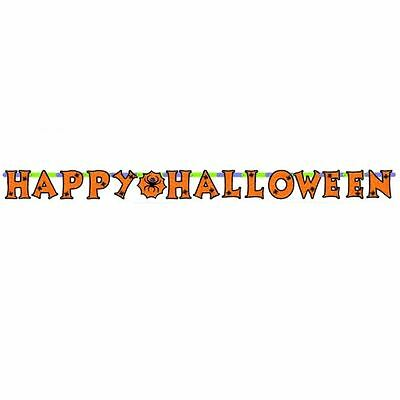 Happy Halloween Kids Party Letter Banner 2.39m - Spooky Spider Decorations