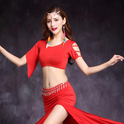 New arrival PLUS SIZE adult Unique Belly Dance Costumes Short Sleeves Top M L XL
