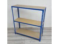 Metal Storage Racking / Bookcase, 3 Shelves, Blue, H1000mm