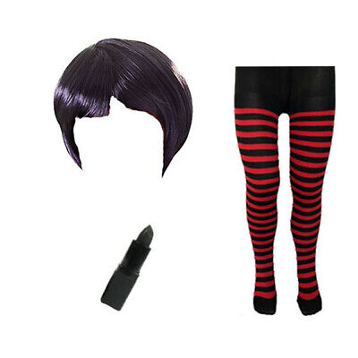 Kinder Mädchen Bob Perücke Lippenstift Strumpfhose Halloween - Lippenstift Kostüm