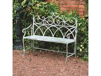 Stylish Wrought Iron Grey Vintage Bench for the Garden or Patio