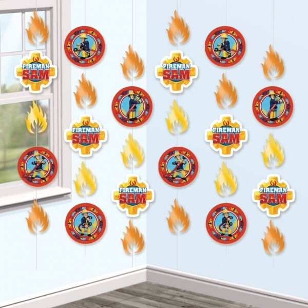 6 X  FIREMAN SAM BIRTHDAY PARTY HANGING STRINGS DECORATIONS