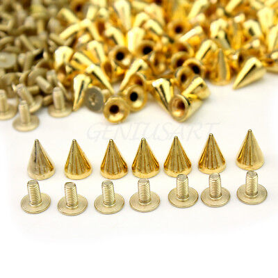100 PCS Trendy 10MM Gold Spots Cone Screw Metal Studs Rivet Bullet -