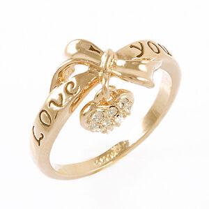 18k Gp Bow Tie Heart Love You Ring Swarovski Crystal R713g