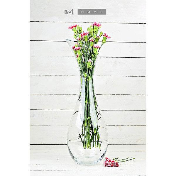 Handmade Contemporary Clear Flower Glass Vase Bunch Bouquet Tall 50 cm