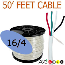 50 Feet 16 AWG Gauge 4 Conductor 99.99% Copper Speaker Wire Cable FT4 UL CL3