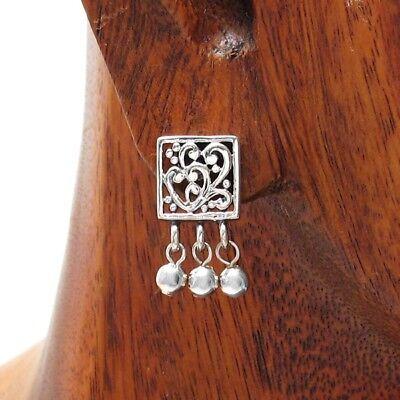925 Sterling Silver Dangling Bead & Heart Post Stud Earrings Dangling Heart Post Earrings