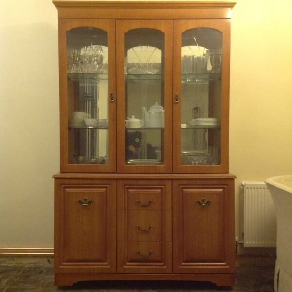Display Cabinet Wall Unit Dresser With Lights Glass