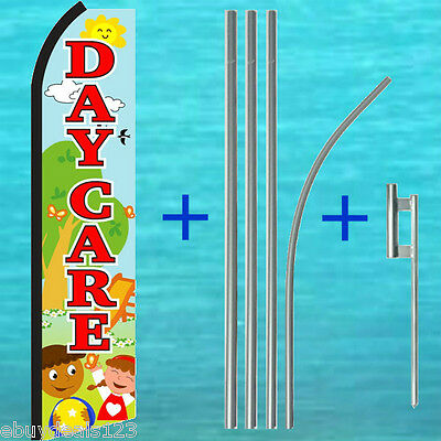 Day Care Swooper Flag 15 Tall Pole Mount Kit Flutter Feather Banner Sign